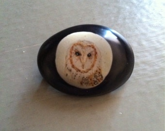Painted Barn Owl Resin Brooch