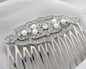 Bridal Hair Comb, Wedding Hair Comb, Art Deco Style Wedding Hair Comb, Rhinestone and Pearls Bridal Hair Comb, Brides Hair Accessories