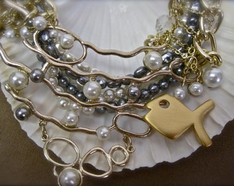 The Beatific Pacific: Mermaid Necklace Vintage Assemblage PISCES Modernist Fish Beach Wedding Statement White Grey Pearls Crystals Gold