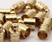 500 Raw Brass End Cap ,  Cord Tip , 7 mm Cord End - 8x12 mm - Cap 2 (B0020)