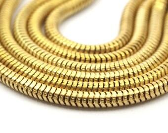 Huge Snake Chain, 2M Raw Brass Snake Chain (3.2mm) - W62-3.2  ( Z113 )