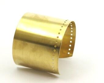 2 Raw Brass Cuff Bracelet Bangle ( Width 60 Mm X 0.80mm )  Brass 061