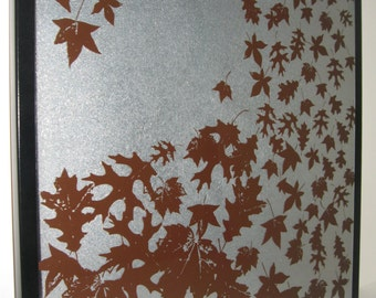Leaves in Brown.. Magnet Dry Erase Steel Memo Board / housewarming friend gift / home decor / office organizer /wall decor / desk / message