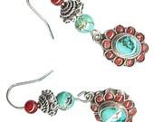 OOAK Nepal charm earrings turquoise coral flower carnelian sterling silver