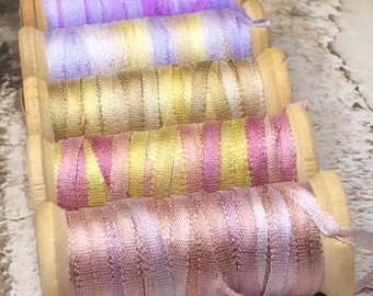 5 Hand Dyed 2mm Silk Ribbon on Vintage Spools