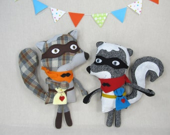 Bandit Raccoon - Handmade, Stuffed Animal, Toy, Children, Plush, Kids, Boy