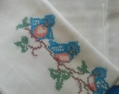 Vintage Pillow cases Blue Birds  Pair of embroidered cotton pillow cases