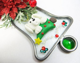 Christmas Doggy Stained Glass and Swarovski Bell Suncatcher or Ornament