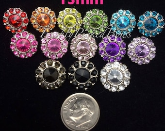 5 Acrylic Round Rhinestone buttons size 15mm U choose colors