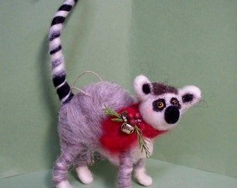 Lemur Felted Wool Ornament - NEW for 2013