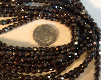 Czech Glass 4mm Faceted Fire Polish Beads (50) Iris Brown,Jewelry Supplies,Beads