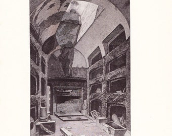 1898 Architecture Print - Catacombs Rome - Vintage Antique Art Print History Great for Framing 100 Years Old