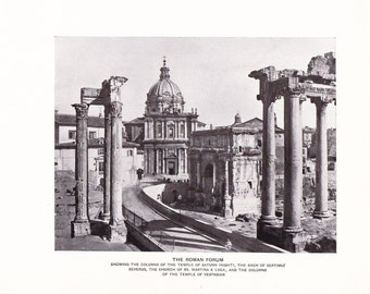 1903 Architecture Photograph - Roman Forum - Vintage Antique Art Print History Geography Great for Framing 100 Years Old
