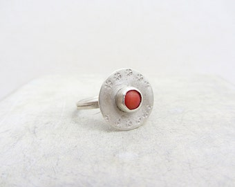 Sterling Silver coral Ring, Handmade Ethnic style  sterling silver bezel ring- size 7.5