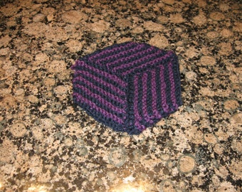 Black knitted coasters set of 6