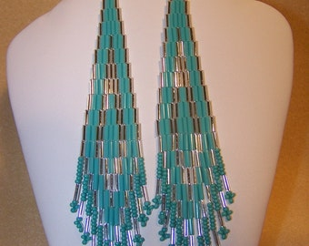 Silver and Turquoise shoulder duster bugle bead earrings
