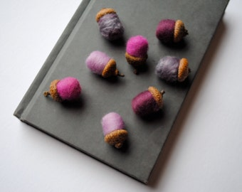 Orchid Purple Felted Wool and Silk ACORNS Set of 12 - Eco Friendly Rustic Home Decor - Home Decor - Birthday Favours