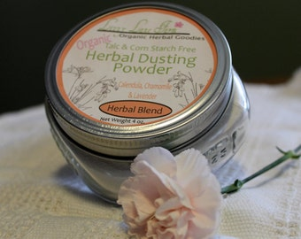 Herbal Calendula, Chamomile and Lavender Body Dusting Powder. 4 oz. with dusting puff