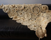 Amazing Hand Crochet Blanket / Wrap Soft Yellow  Color