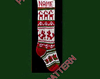 Pattern only, Hand knit Christmas stocking,  -- gift box, poodle and tiny deer