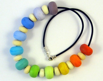 Springtime Rainbow Lampwork Glass Bead Necklace SRA