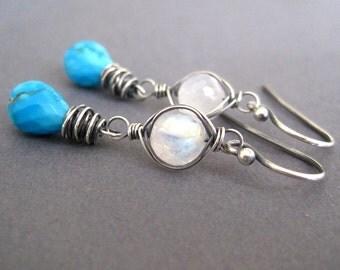 Turquoise Earrings, Moonstone Earrings, Wire Wrap Jewelry, December Birthstone, free shipping Earrings, Oxidized Silver Dangle