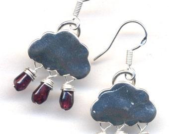 Silver Cloud Earrings, Deep Red  Rain Earrings, Garnet Earrings, Winter Earrings, Garnet  Sterling Winter Snow Cloud Earrings - by AnnaArt72