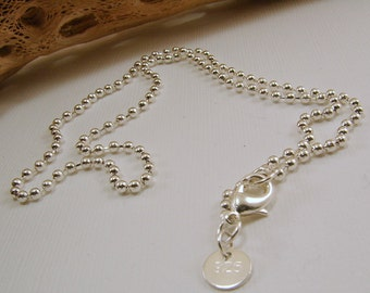 Sterling Silver Ball Chain - 16, 18, 20, 22,  26, and 28 inches available - stamped 925