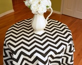 Round Tablecloth - Black / White Chevron Zig Zag -  Wedding, Banquet, Party, Holiday - Choose Size