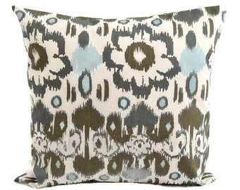 Pillow Cover, 16x16 Rio ikat Village Blue Natural, Premier Prints - Charcoal Grey, Brown, Blue, Cream - READY TO SHIP