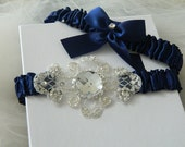 Wedding Garter Set -Bridal garter set -navy Blue Garter- Blue Garter Set