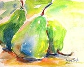 ORIGINAL Three Pears pear painting study original watercolor fruit still life 6x8