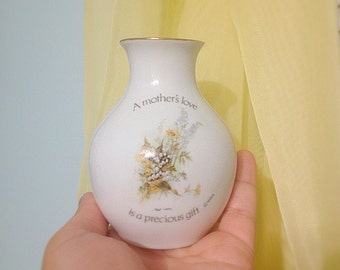 Vintage Mother's Day Small Vase. Porcelain Floral Vase. White. Yellow. Green. Mother's Love. Home Decor. Boho. 1970s. Under 15. Bouquet.