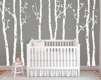 Birch tree decals for walls, Wall mural decal, White tree wall decal, Nursery wall decals, Vinyl wall decals, Wall decal for nursery, DB320