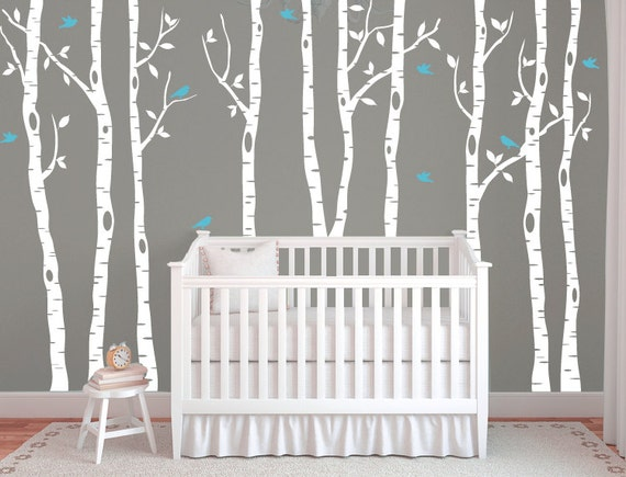 Birch tree decals for walls wall mural decal white tree wall for Birch trees wall mural