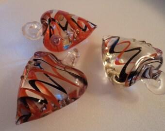 Glass Heart Pendant - Orange & Black - #PND924