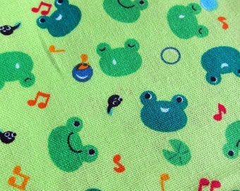 FREE SHIPPING Happy Frogs Fabric in Green - Animal Cotton Fabric (F056) - Fat Quarter