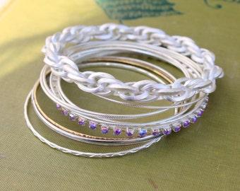 Vintage Bracelet Bangle LOT Silver Stacked Boho