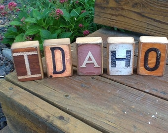 Custom-Made Picture Letters State Name Blocks, Idaho, Christmas Gift