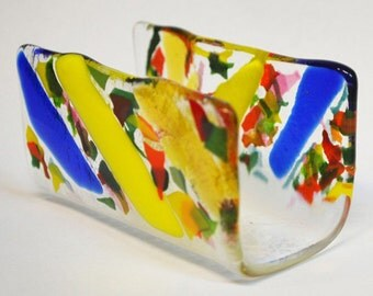 Clear and colorful Glass Business Cards holder - CUSTOM MADE ITEM