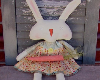 Easter bunny pattern with Carrot Nose, Primitive Easter Decor, White bunny doll, HFTH198