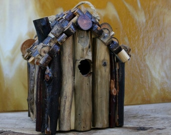Rustic Log Cabin Birdhouse,  Manzanita Wood Roof,  Birthday Gift Idea, Cabin in the Woods