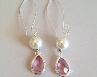 Pale Purple Glass and Pearl Earrings - Faceted Glass on Silver-Filled (E-456)