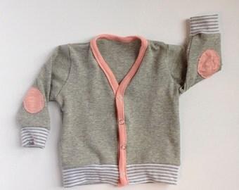 SALE Baby Cardigan // Grey & Pink Girls' Sweater