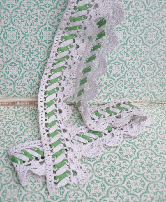 Antique Crochet Lace Trim -  green white vintage handmade Victorian crocheted cotton ribbon ribbonwork