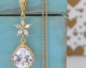 Cubic Zirconia Bridal Flower Teardrop Gold Necklace