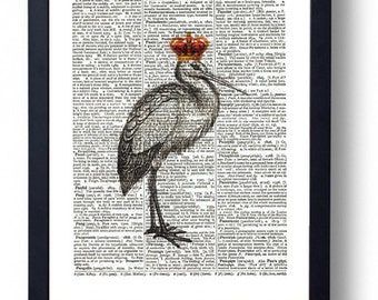 Original Art Print on A Vintage Dictionary Book Page / Stork / Royal / Crown