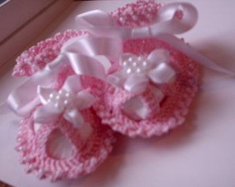 Sale - 2 Crochet Patterns 14-A Beaded Slippers crochet Booties  0-12 Crochet Beaded Baby Booties