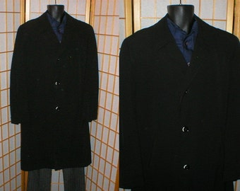 50s black wool gabardine overcoat by Cellini mens size large / 45