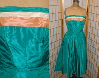 VTG 50s taffeta  strapless gown womens size medium